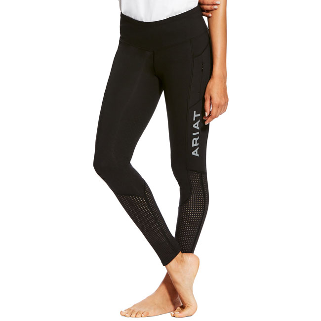 Ariat Ladies EOS Knee Patch Tights. Black. Front view.