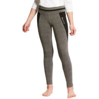 Ariat Girls Freja Knee Patch Tights. Grey. Front view.
