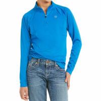Ariat Girls Sunstopper Quarter Zip Shirt - SS20. Imperial Blue.