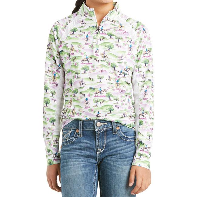 Ariat Girls Sunstopper Quarter Zip Shirt. White Green and Purple Print. Front view.