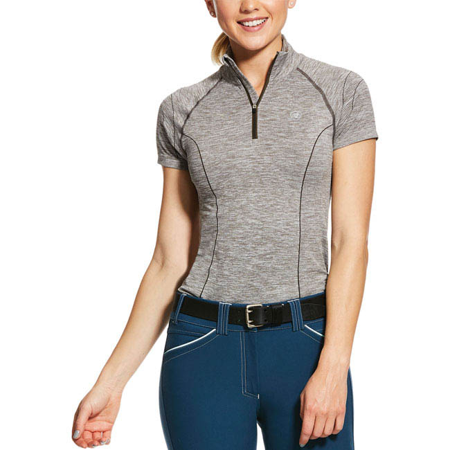 Ariat Ladies Odyssey Seamless Baselayer. Grey. Front view.