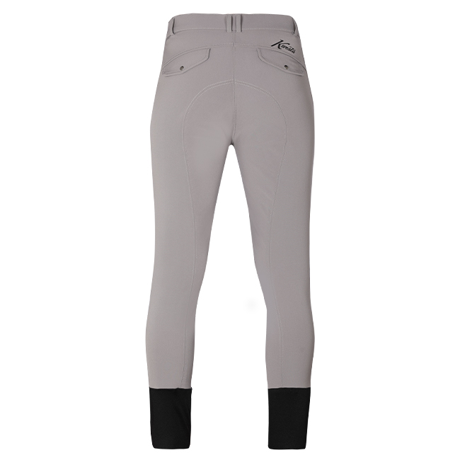 Kwesta men's Sebastian gel knee breeches. Comfortable breeches with gel knee support. Grey. Rear view.