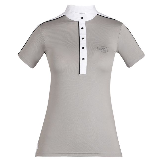 The Kwesta Skyla ladies show shirt is summer show wear perfection. Breathable fabric. Short sleeves. Stand-up collar. Grey and white.