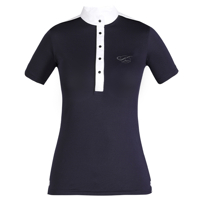 The Kwesta Skyla ladies show shirt is summer show wear perfection. Breathable fabric. Short sleeves. Navy and white. Front view.