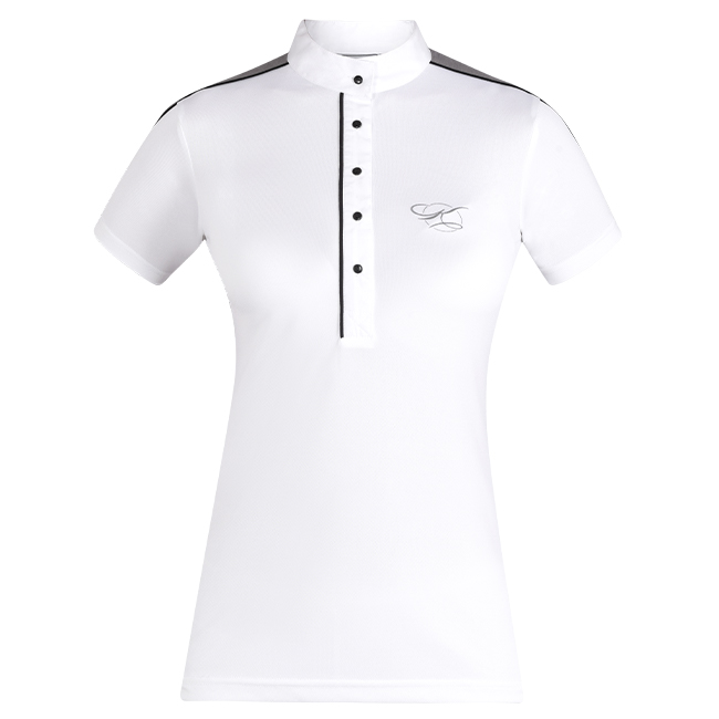 The Kwesta Skyla ladies show shirt is summer show wear perfection. Breathable fabric. Short sleeves. White and grey. Front view.