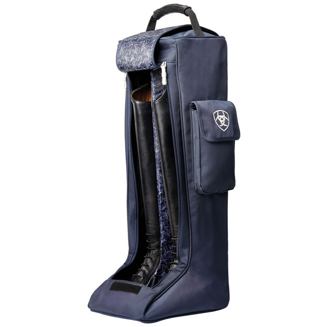 Ariat Tall Boot Bag in navy. Stylish finish with striped shoulder strap. Double zip opening. Large exterior pocket.