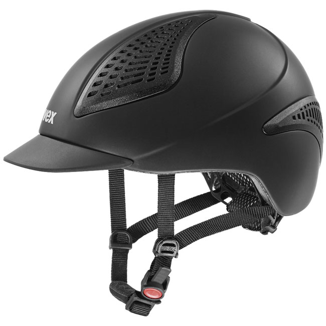 Uvex Exxential II Riding Helmet. Black. Side view.. VG1 Safety standard.