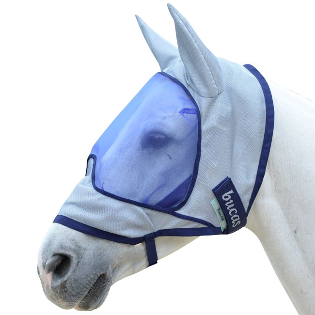 Bucas Buzz Off Deluxe flymask with ears. Protection against flies and the sun. Silver with navy binding.