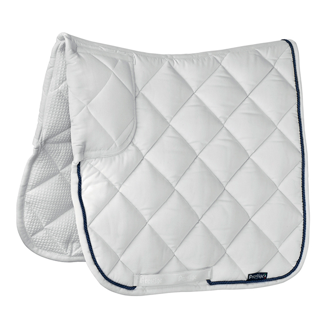 Prestige Lux Trapezium Dressage Numnah. White with black trim. Full size.