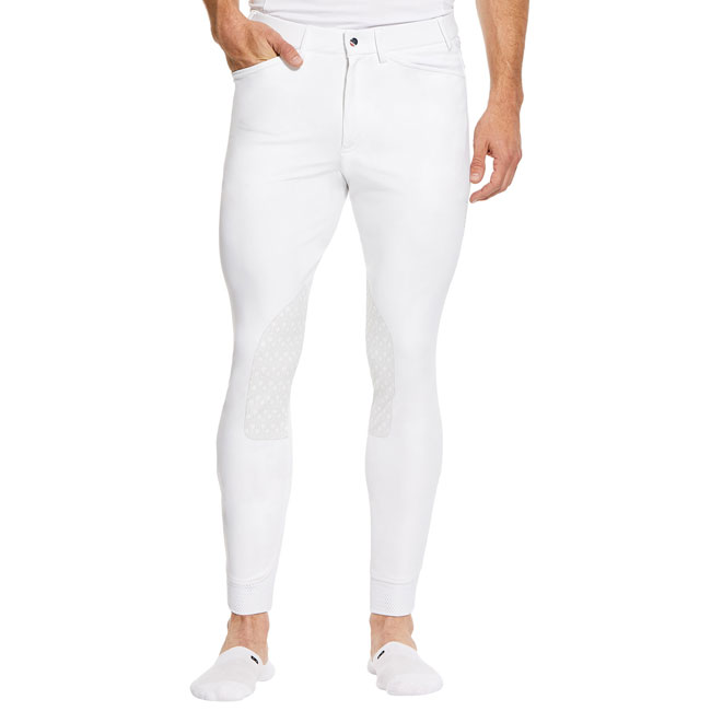 Ariat Mens Tri Factor Breeches. White, Front view.