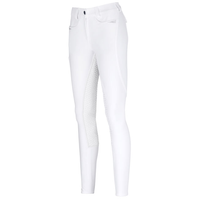 Pikeur Ladies Laure Grip Full Seat Breeches. White. Front view.