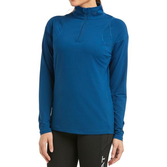 Ariat Ladies Auburn 1/4 Zip Shirt. Dark Blue. Front view.