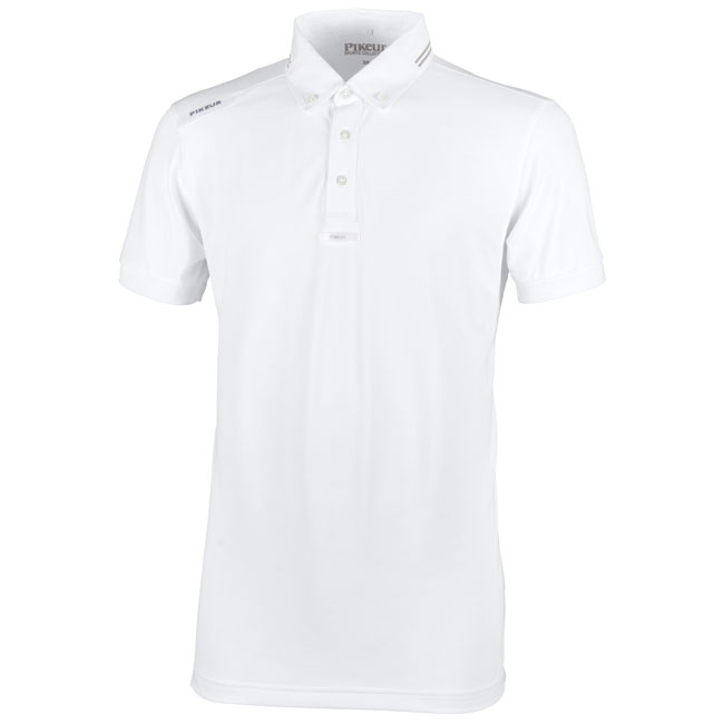 Pikeur Mens Abrod Short Sleeve Show Shirt. White. Front view.