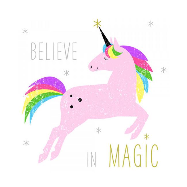 Believe In Magic Unicorn Serviette. Light Pink.