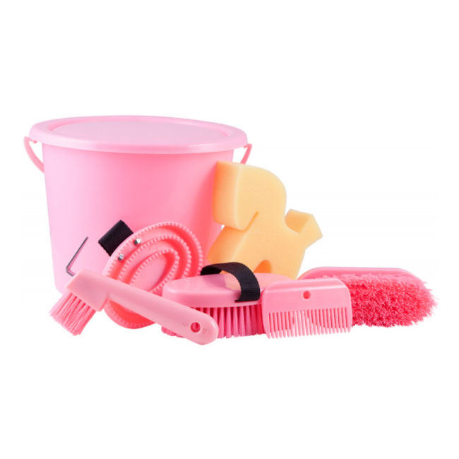 Grooming Kit In A Closable Bucket. Pink.